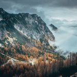 Beautiful mountains covered by clouds