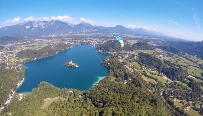 Flying over Lake Bled in tandem