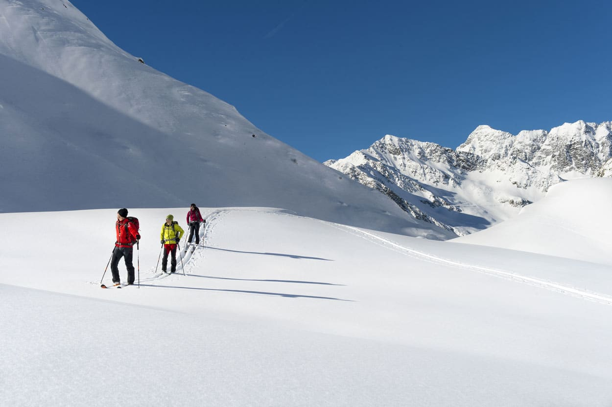 Ski touring on fresh snow in Slovenian mountains