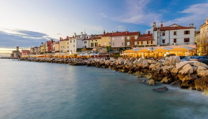 The view on Piran and its cafes and restaurants