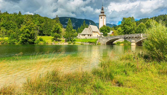 The church overlooking lake Bohinj