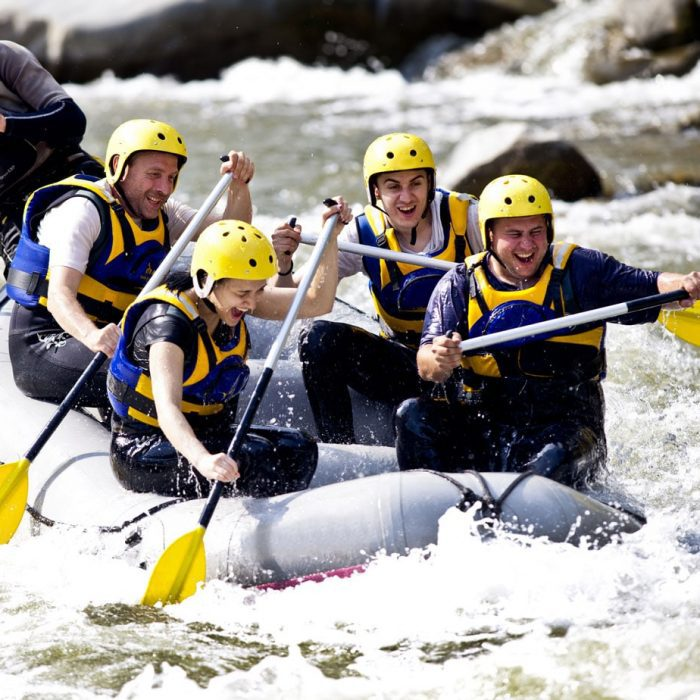 Group rafting together