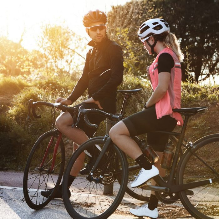 Couple discussing cycling plan