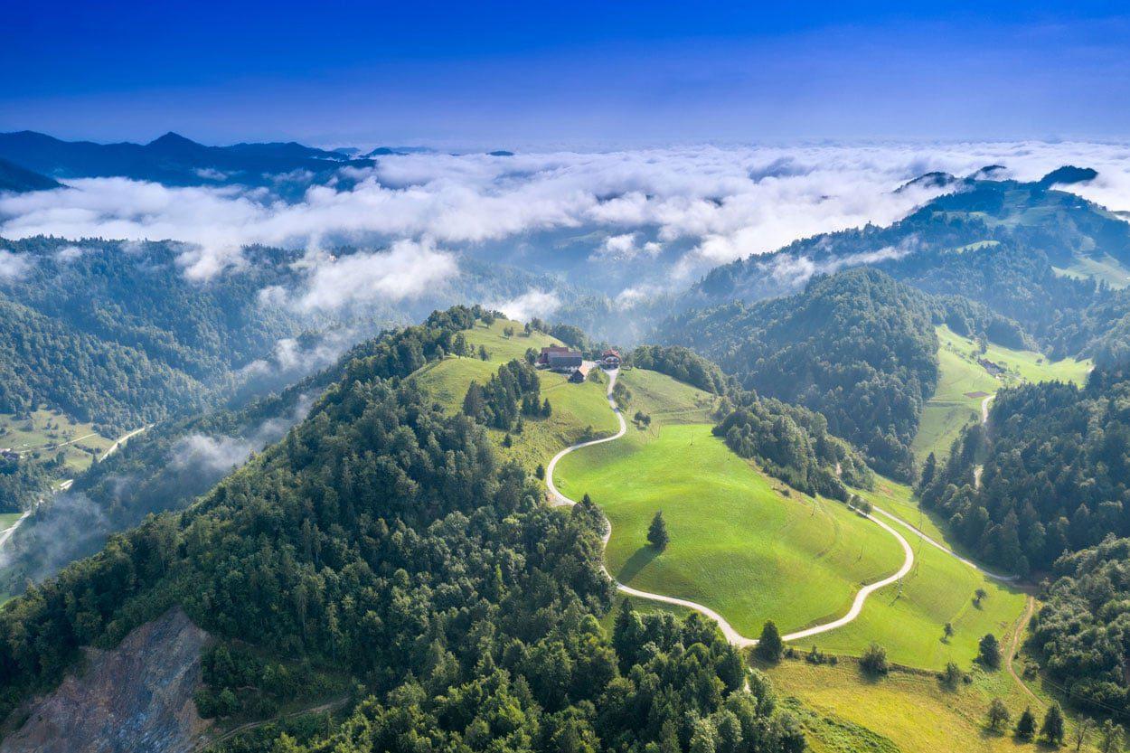 Road biking in Slovenian hills