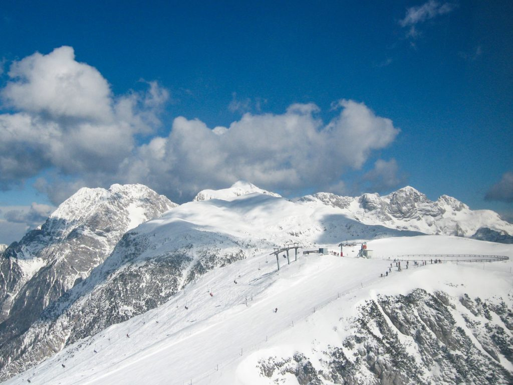 Ski slopes in Slovenian mountains