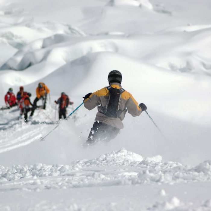 Ski touring in a group