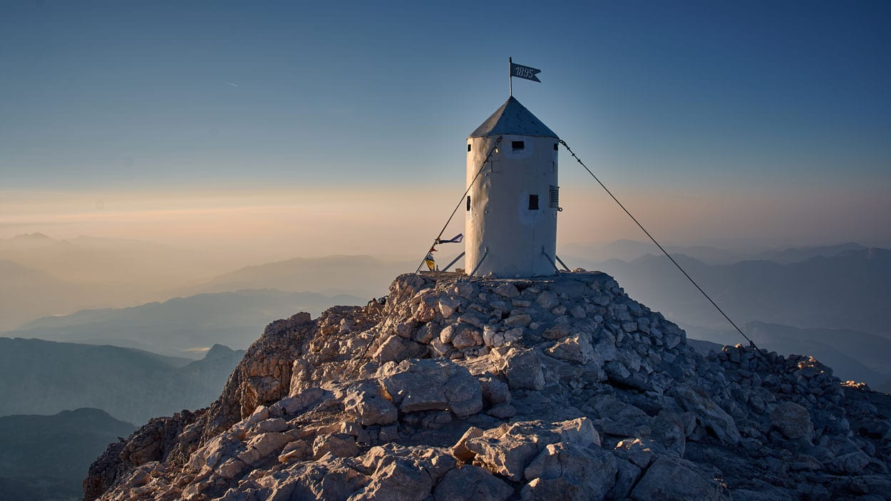 Aljaž tower, on the top of the highest mountain in Slovenia