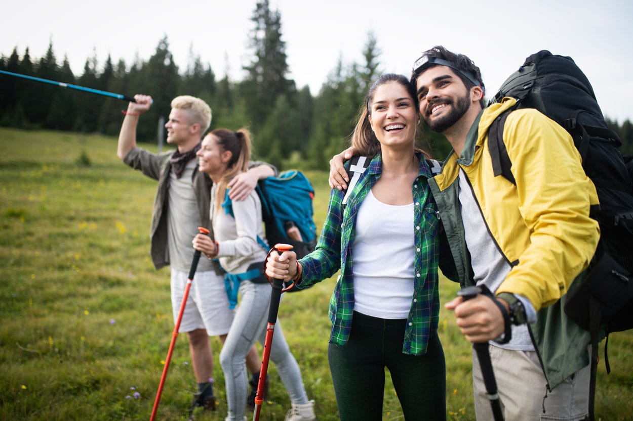 Two couples hiking together