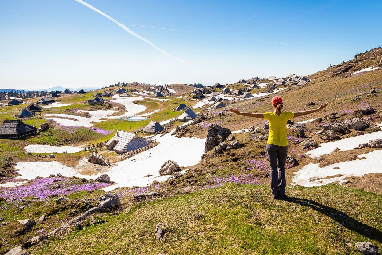 Lady enjoying spring on Velika Planina