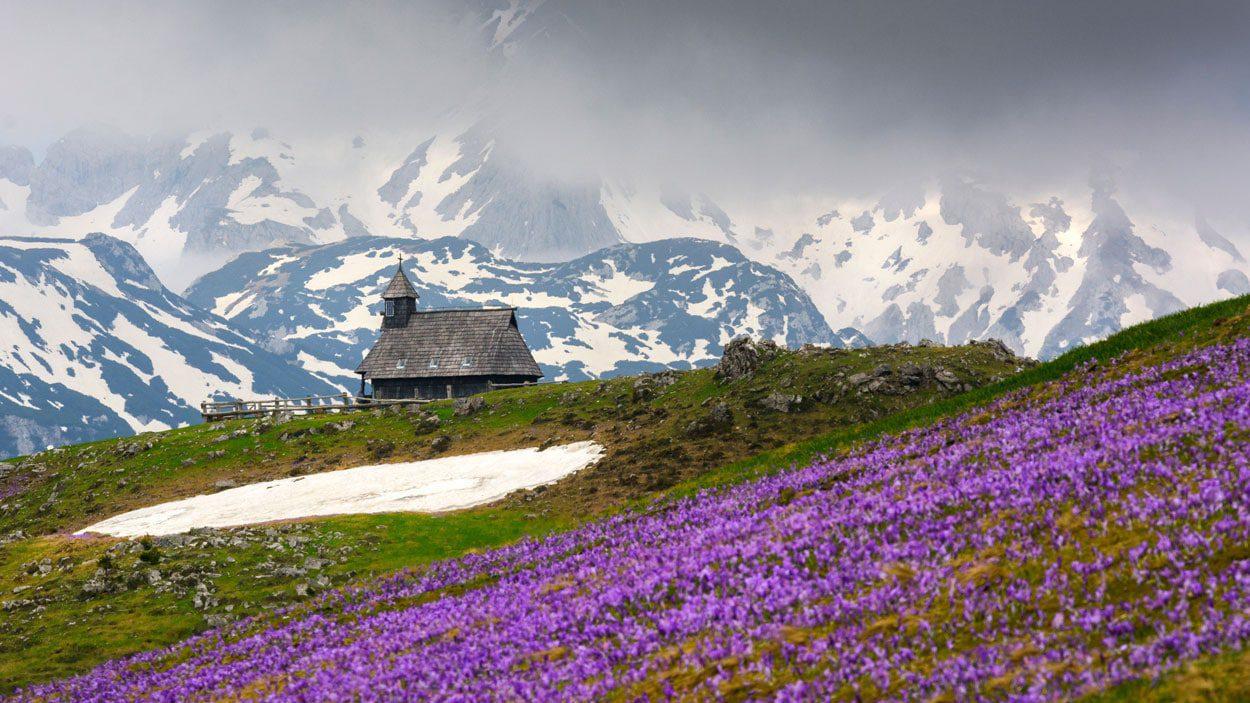 Velika Planina church in spring